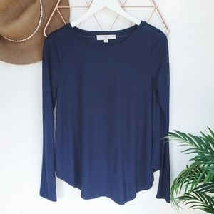 LOFT Navy Blue Ribbed Knit Swing Long Sleeve Top S
